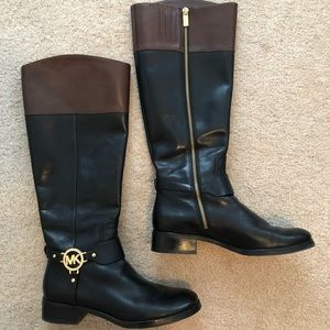 Michael Kors Two Tone Fulton Harness Riding Boots